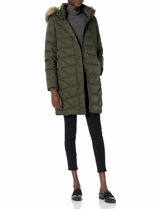 Andrew Marc Women's Medina Down Jacket with Faux Fur Removable Hood