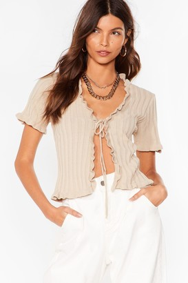 Nasty Gal Womens Short and Sweet Ruffle Tie Front Cardigan - Stone