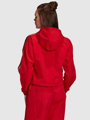 adidas Cropped Half Zip Hoodie - Red