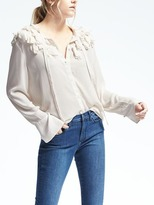 Banana Republic Easy Care Lightweight Elsie Flutter Blouse