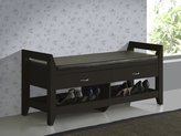 Baxton Studio Maurine Modern Contemporary Wood 2 Drawer and 2 Shelf Shoe Storage Padded Leatherette Seating Bench