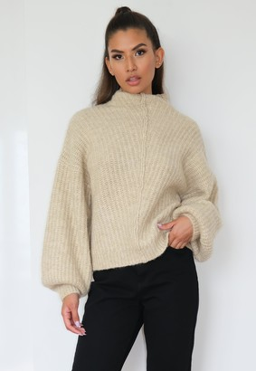 Missguided Stone Exposed Seam Front Ribbed Jumper