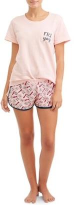 Sleep & Co Women's Short Sleeve Tee & Short Set Pajama
