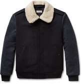 J.Crew Wallace & Barnes Faux Shearling-Trimmed Wool Bomber Jacket