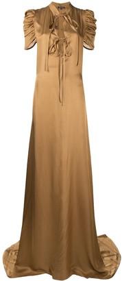 Ann Demeulemeester Drape-Sleeve Satin Gown