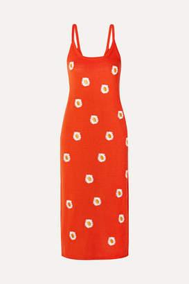 Mansur Gavriel Embroidered Stretch Linen-blend Dress - Bright orange