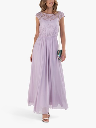 Jolie Moi Lace Bodice Sleeveless Maxi Dress, Lilac