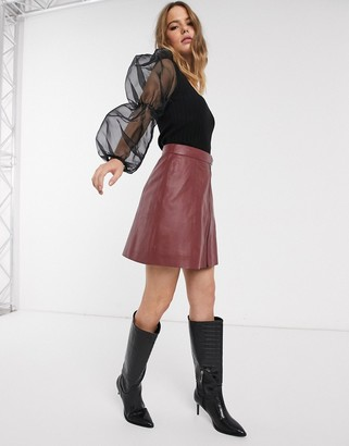 Y.A.S zip front leather mini skirt in burgundy