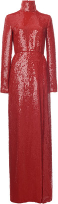 Valentino Glitter-Embellished Silk Turtleneck Gown