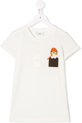 Fendi embroidered chest patch T-shirt