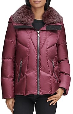 Andrew Marc Naya Fox Fur Trim Short Down Coat