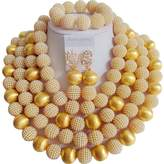 laanc African Nigerian Beads Women's 7 Rows Gold Plated Imitation Pearls Wedding Jewelry Sets