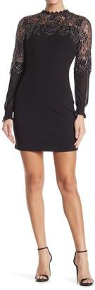 Kensie Metallic Lace Long Sleeve Sheath Dress