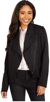 KUT from the Kloth Faux Suede Drape Collar Jacket (Black) Women's Clothing