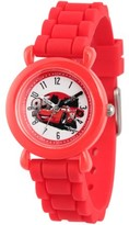 Disney Lightning McQueen Boys' Red Plastic Time Teacher Watch, Red Silicone Strap