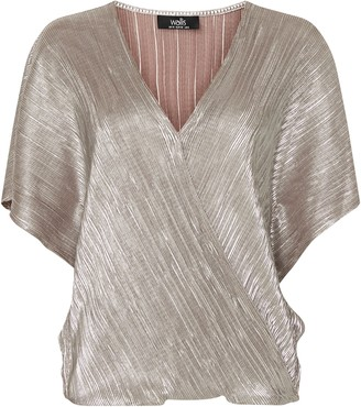 Wallis Rose Metallic Textured Wrap Top