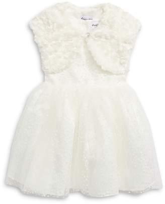 4ever Free Little Girl's 2-Piece Tulle Dress Faux Fur Jacket Set