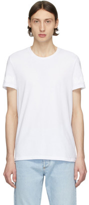 Balmain White Embossed Logo T-Shirt