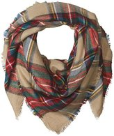Pure Style Girlfriends Women's Oversize Classic Square Plaid Scarf with Fringe Edge D
