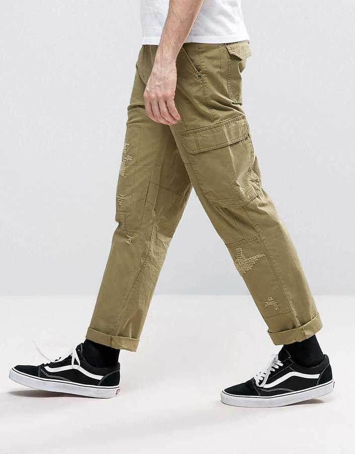 Asos Slim Cargo Pants With Rip & Repair Detail In Khaki