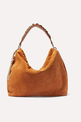 Jimmy Choo Callie Large Chain-trimmed Suede Shoulder Bag - Tan