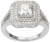 Journee Collection 1 4/5 CT. T.W. Princess Cut CZ Basket Set Bridal Ring in Brass - Silver