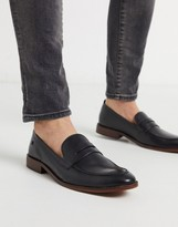 Base London lense penny loafers black leather