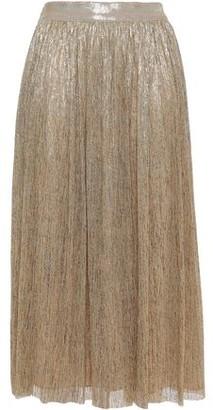 Alice + Olivia Melda Plisse-lame Midi Skirt