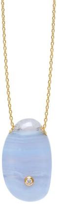 Lola Rose London Curio Diamond Large Pebble Necklace Blue Lace Agate