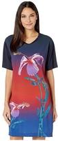 Paul Smith Short Sleeve Flower T-Shirt Dress (Navy) Women's Clothing