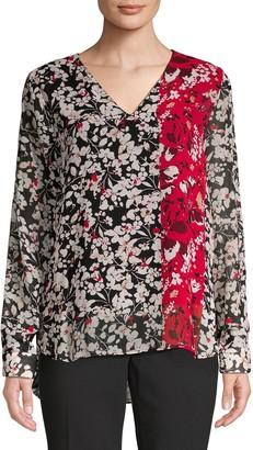 Calvin Klein Collection Floral-Print V-Neck Top