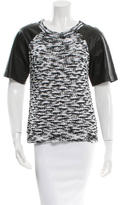 Robert Rodriguez Leather Paneled Short Sleeve Top w/ Tags