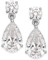 Arabella Swarovski Zirconia Double Drop Earrings in 14k White Gold