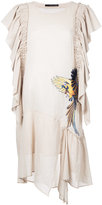 Maurizio Pecoraro bird embroidered draped dress - women - Cotton - 42