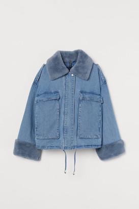 H&M Faux Fur-trimmed Denim Jacket