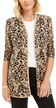 JM Collection Petite Patterned Cardigan Sweater, Created for Macy's