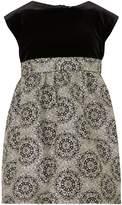 Benetton Girls Short Sleeve Velvet and Printed Dress