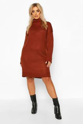 boohoo Plus Roll Neck Knitted Dress