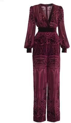ZUHAIR MURAD Kodo Blouson-Sleeve Burnout Velvet Jumpsuit