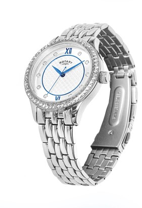 Rotary EXCLUSIVE Textured Silver and Blue Detail Swarovski Set Dial Stainless Steel Bracelet Ladies Watch