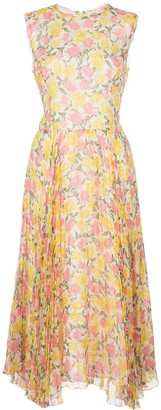 Jason Wu Collection Pleated Floral Print Dress