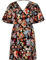 River Island Womens Black floral print cape dress