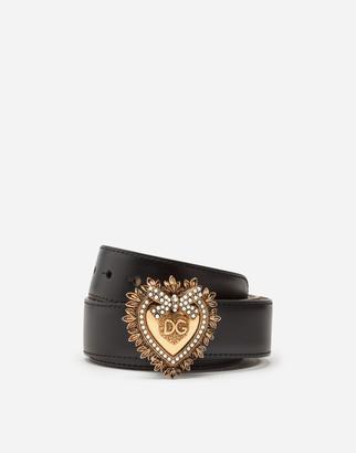 Dolce & Gabbana Devotion Belt In Lux Leather