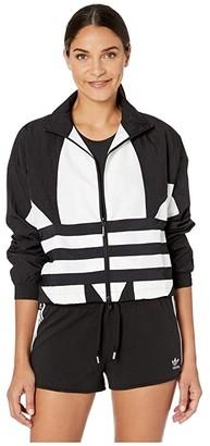 adidas Large Logo Track Top (Black/White) Women's Clothing