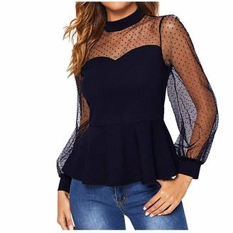 Andouy Women's Long Sleeve Tops Mesh Sleeve Polka Dot Mock Neck Ruffle T Shirt Blouses Tunic Tops Vest Shirt S-2XL(Navy XXL)