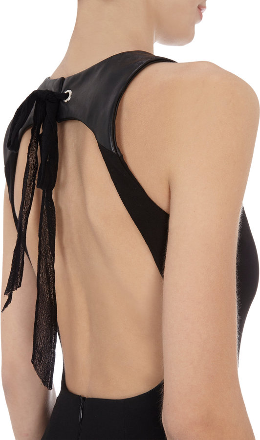 L'Agence Leather-trimmed Open-back Maxi Dress