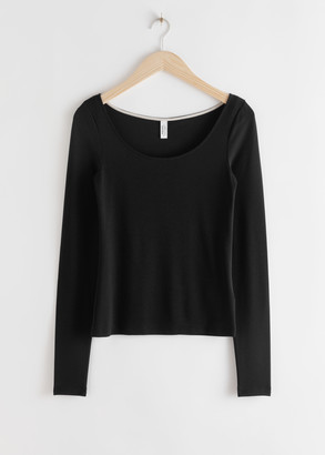 And other stories Scoop Neck Lyocell Stretch Top