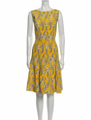 Oscar de la Renta Silk Knee-Length Dress Yellow
