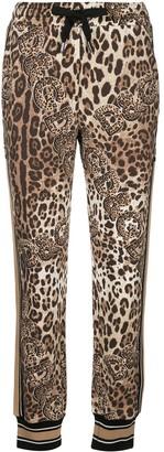 Dolce & Gabbana Leopard Logo Print Track Pants