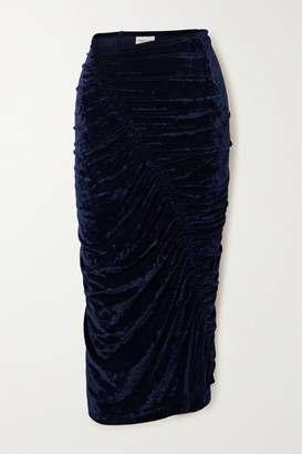 Dries Van Noten Ruched Crushed-velvet Midi Skirt - Navy